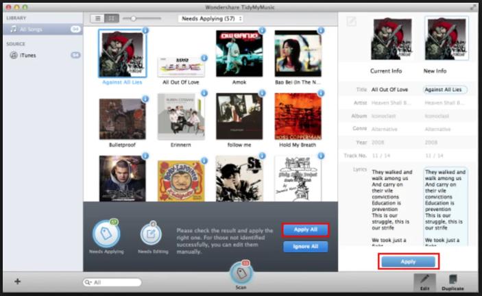 Wondershare TidyMyMusic for mac
